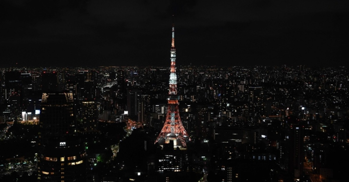 The Tokyo Tower is pictured at night in Tokyo, one of the host cities of the upcoming 2019 Rugby World Cup in Japan, on September 7, 2019. (AFP Photo)
