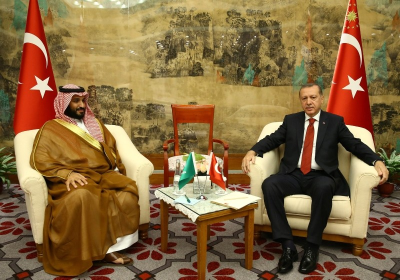 This file photo dated Sept. 03, 2016 shows President Recep Tayyip Erdou011fan receiving Saudi Crown Prince Mohammed Bin Salman at the sidelines on the G20 Summit in Hangzhou, China. (Photo: Turkish Presidency)