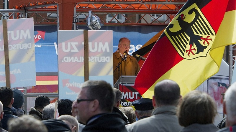 In this April 23, 2016 file photo leader of nationalist AfD party Alexander Gauland speaks to followers of the party in Stralsund, Germany. (AP Photo)