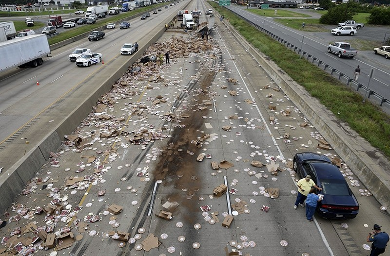 This Wednesday, Aug. 9, 2017, photo provided by the Arkansas Department of Transportation shows Arkansas highway Interstate 30, a cross-country route that was shut down in both directions for a time Wednesday (AP Photo)