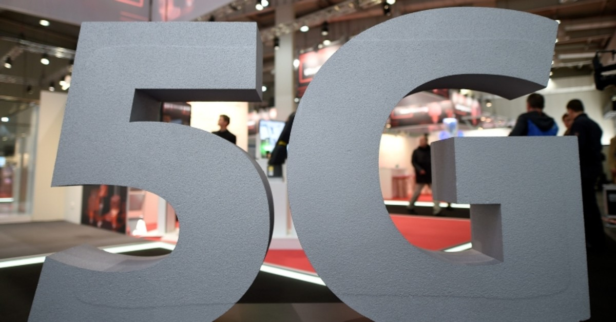 A logo of the upcoming mobile standard 5G is pictured at the Hanover trade fair, in Hanover, Germany, March 31, 2019. (Reuters Photo)