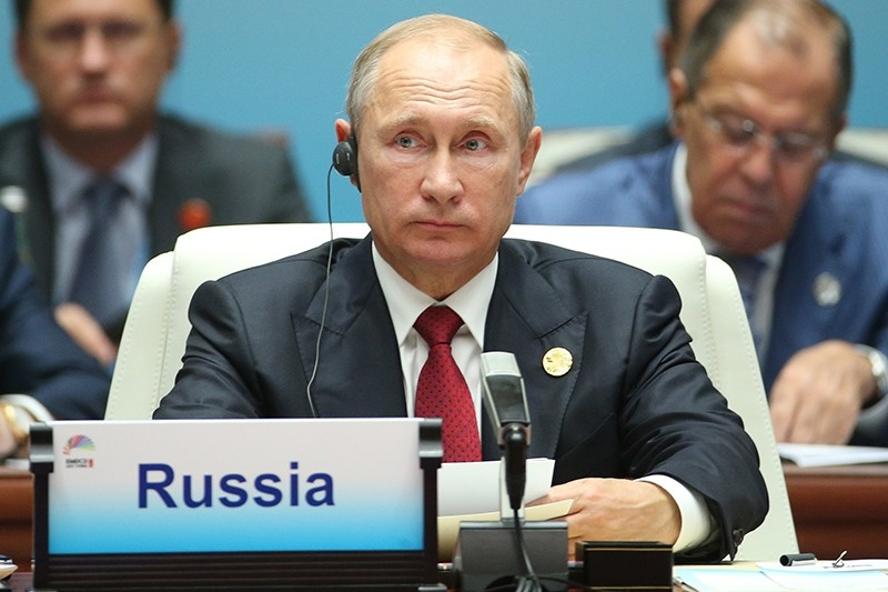 Russian President Vladimir Putin attends the 'Dialogue of Emerging Market and Developing Countries' on the sidelines of the 2017 BRICS Summit in Xiamen, Fujian province, China, Sept. 5, 2017. (EPA Photo)