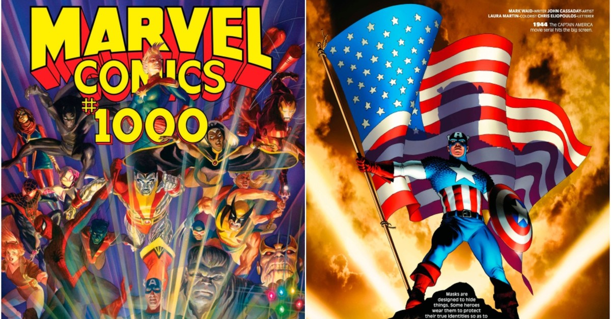 This image provided by Marvel Comics shows the cover and a page from the Marvel Comics #1000, the publisheru2019s 80th anniversary issue. (AP Photo)
