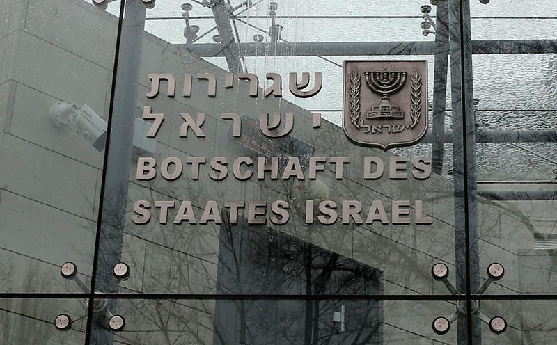 A sign is pictured at the entrance to the embassy of Israel in Berlin, Germany (Reuters File Photo)