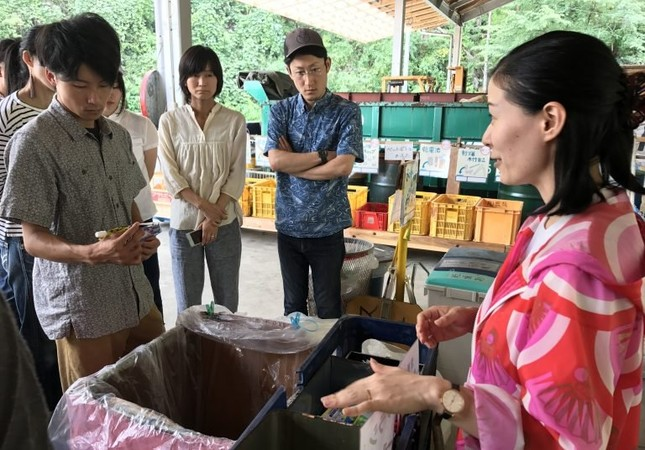 The locals of Kamikatsu sort their trash for recycling.