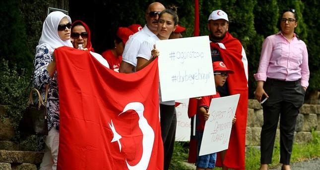 الأتراك يتظاهرون أمام قصر غولن بولاية بنسلفانيا الأميركية