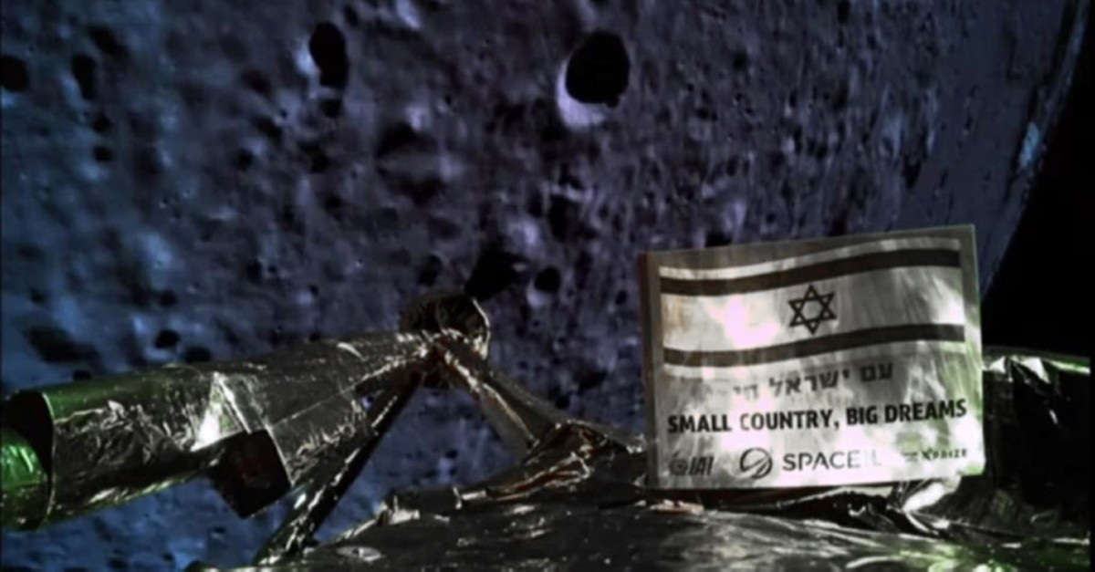 A handout picture released by SpaceIL and Israel Aerospace Industries (IAI) on April 11, 2019, shows a picture taken by the camera of the Israel Beresheet spacecraft, of the moons surface as the craft approaches. (AFP Photo)