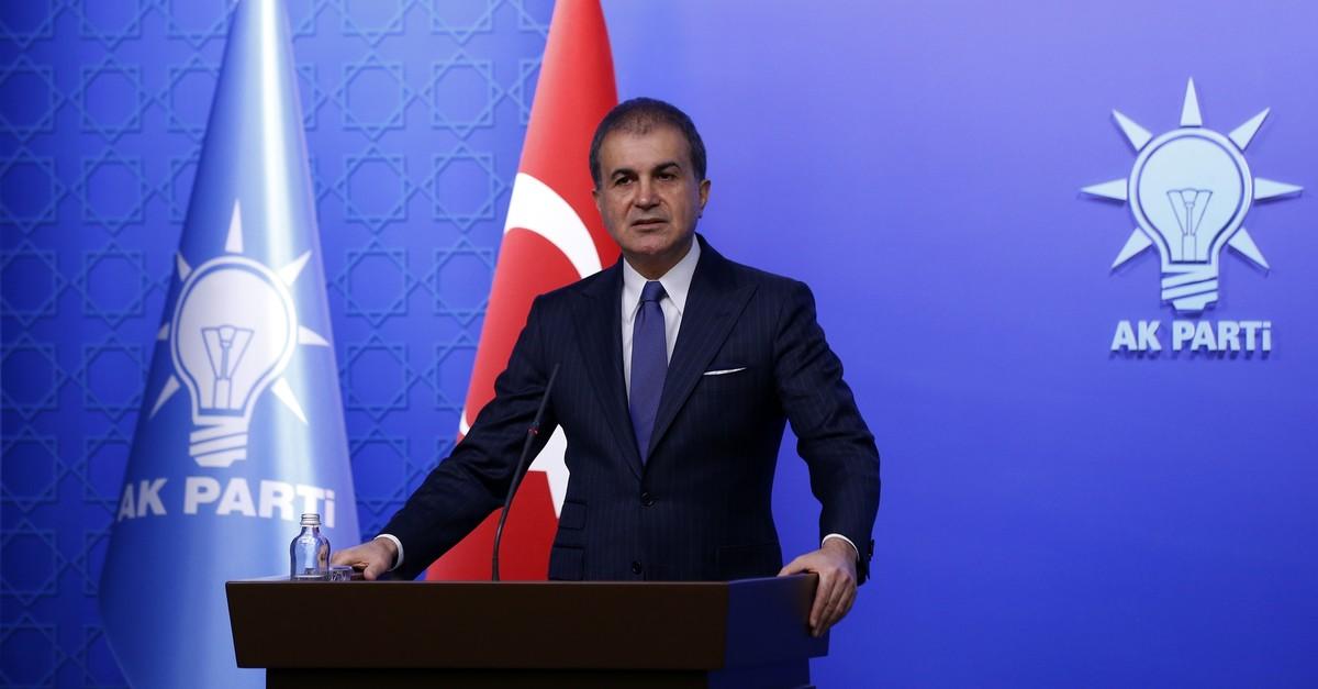 AK Party Spokesman u00d6mer u00c7elik speaks at a news conference in Ankara on Monday, Feb. 17, 2020 (AA Photo)