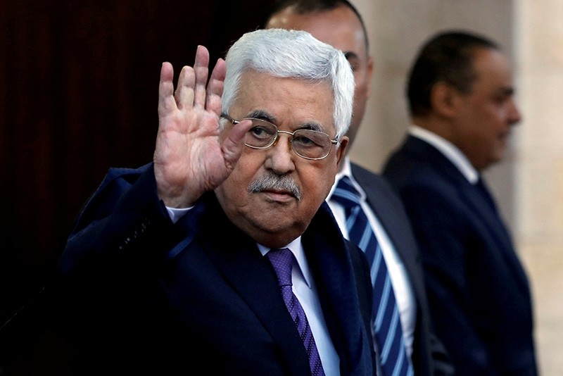 Palestinian President Mahmoud Abbas waves in Ramallah, in the occupied West Bank May 1, 2018. (Reuters Photo)