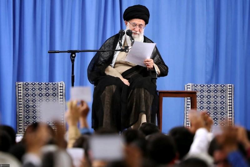 Iran's Supreme Leader Ayatollah Ali Khamenei speaks at the Hussayniyeh of Imam Khomeini in Tehran, Iran, August 13, 2018. (Reuters Photo)