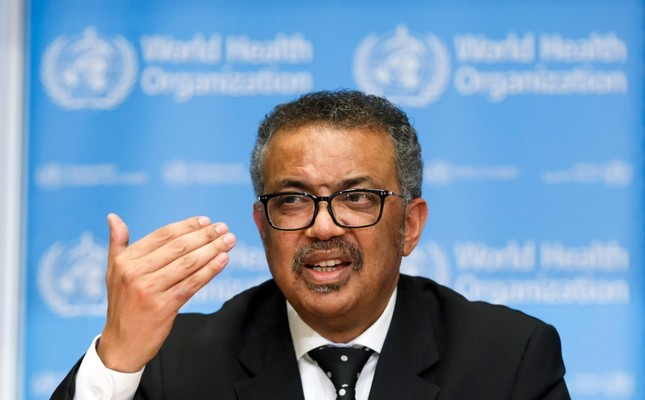 Tedros Adhanom Ghebreyesus, Director General of the World Health Organization WHO, addresses the media during a press conference at the World Health Organization WHO headquarters in Geneva, Switzerland Salvatore Di Nolfi/Keystone via AP