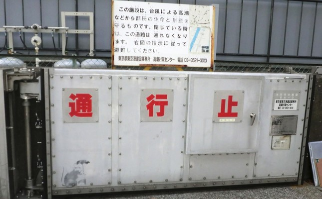Photograph released on Jan. 17, 2019 shows a drawing (bottom L) of a rat holding an umbrella, pictured on a door which is designed to prevent flooding during high tides, near Hinode station in Tokyo.