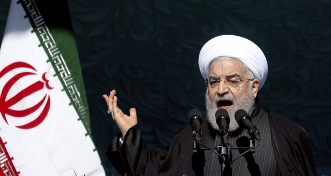 Iranian President Hassan Rouhani speaks during a ceremony celebrating the 41st anniversary of the Islamic Revolution, Tehran, Feb. 11, 2020. AP Photo