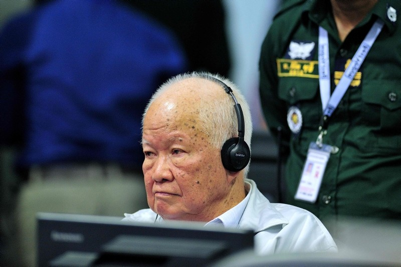 This handout photo taken and released by the Extraordinary Chambers in the Courts of Cambodia (ECCC) on November 16, 2018 shows former Khmer Rouge leader head of state Khieu Samphan sits in court at the ECCC in Phnom Penh. (AFP Photo)