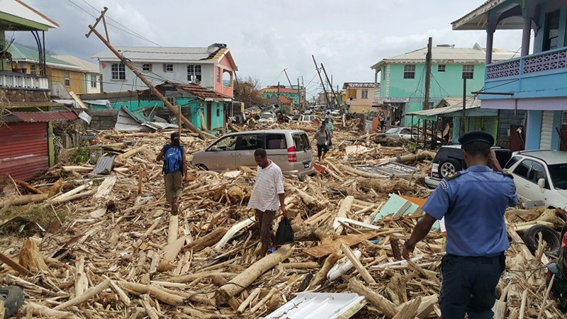 View of damage caused the day before by Hurricane Maria in Roseau, Dominica, on September 20, 2017. (AFP Photo)