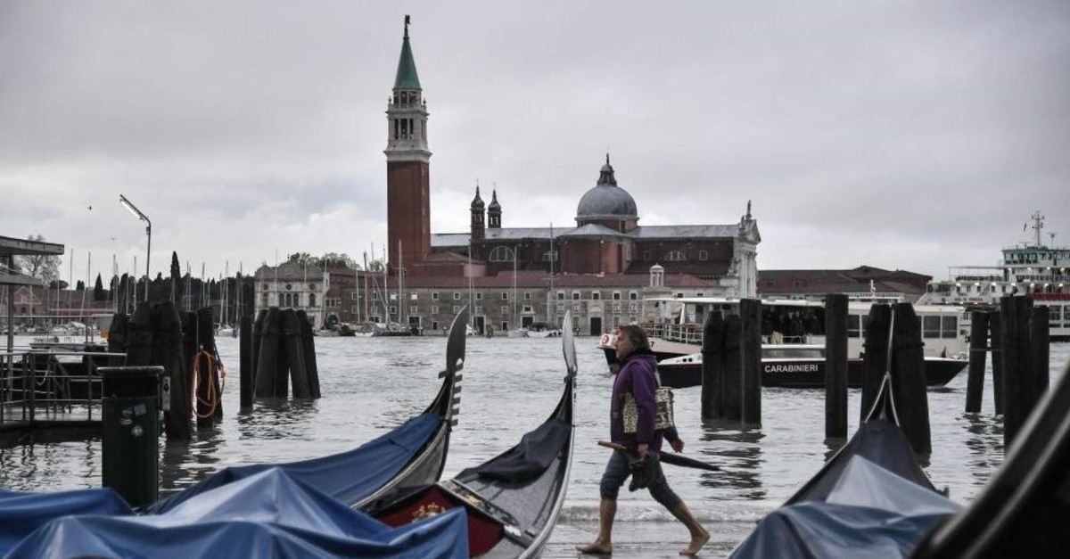 A general view shows flooded St. Mark's Square on the occasion of a high tide, in Venice, Italy, Nov. 13, 2019. (AFP Photo)