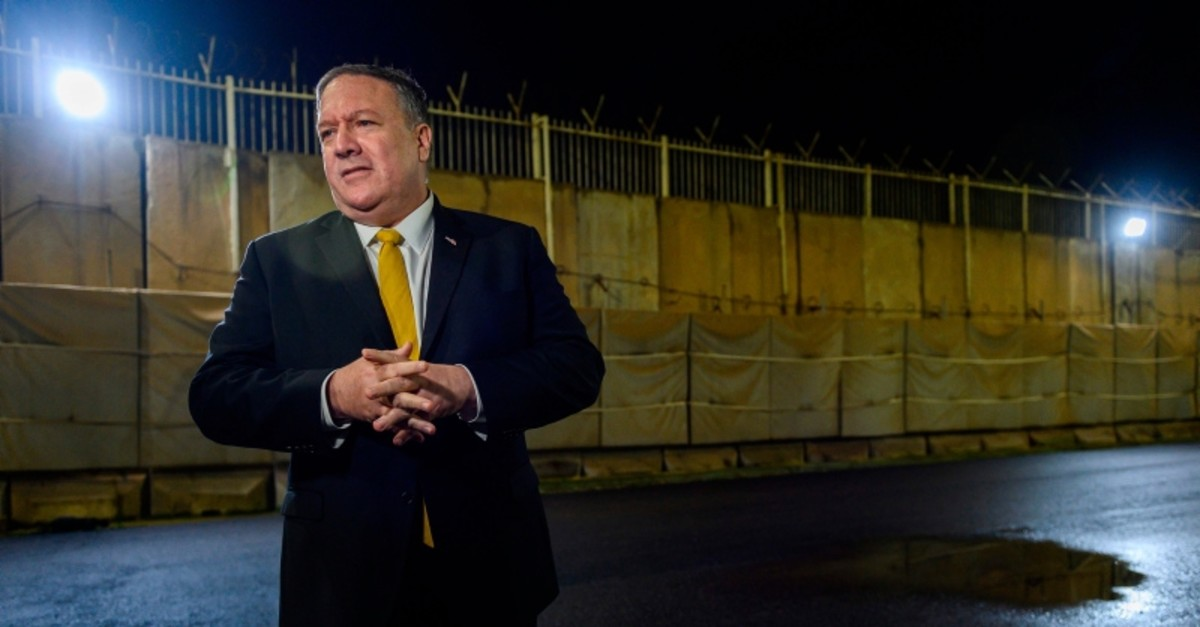 US secretary of State Mike Pompeo speaks to the press outside the US consulate compound in  Erbil in the Kurdish autonomous region of northern Iraq on January 9, 2019 (AFP Photo)