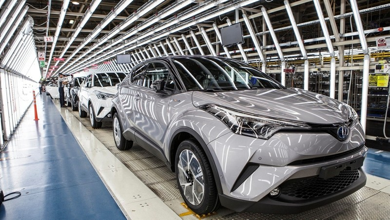 This file photo shows a Toyota C-HR manufacturing line in the company's plant in Sakarya, northwestern Turkey.