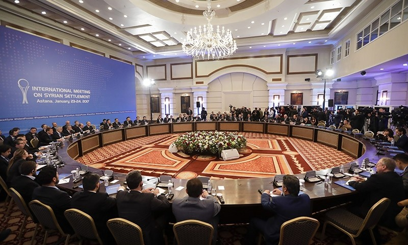 Delegations of Russia, Iran and Turkey hold talks on Syrian peace at a hotel u0131n Astana, Kazakhstan, Monday, Jan. 23, 2017. (AP Photo)