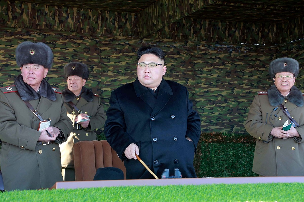 North Korean leader Kim Jong Un guides the winter river-crossing attack tactical drill of the reinforced tank and armored infantry regiment in this undated photo released by North Korea's Korean Central News Agency (KCNA) in Pyongyang. (via Reuters)