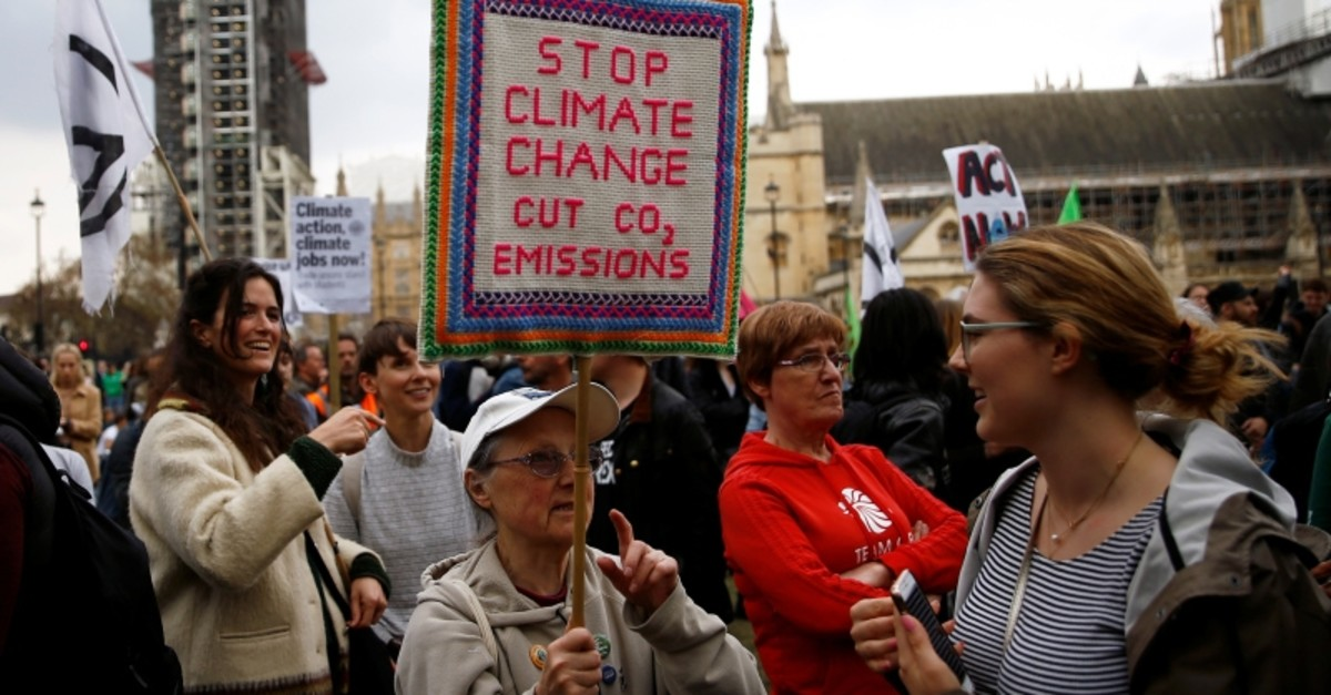 Climate change activists from the Extinction Rebellion protest at the Parliament Square in London, Britain May 1, 2019. (Reuters Photo)