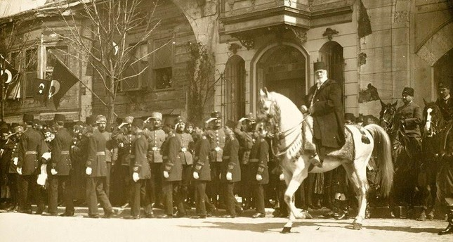 Shahzade Abdülmecid Efendi is seen on a horse as he goes to Friday prayer. (1923)