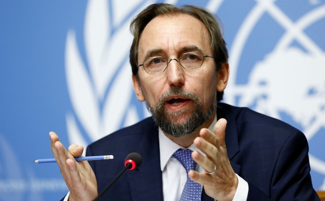 Zeid Ra'ad Al Hussein, U.N. High Commissioner for Human Rights gestures during a news conference at the United Nations Office in Geneva, Switzerland, Aug. 30, 2017. Reuters Photo