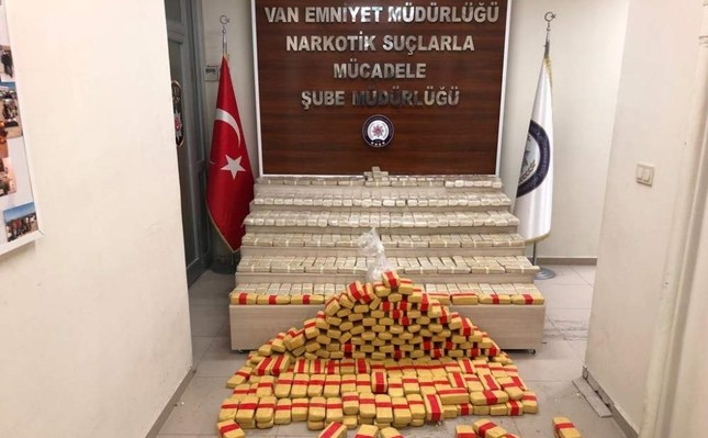 Seized drugs on display at the counter-narcotics department of Van police, Van, Dec. 4, 2019. (AA Photo)