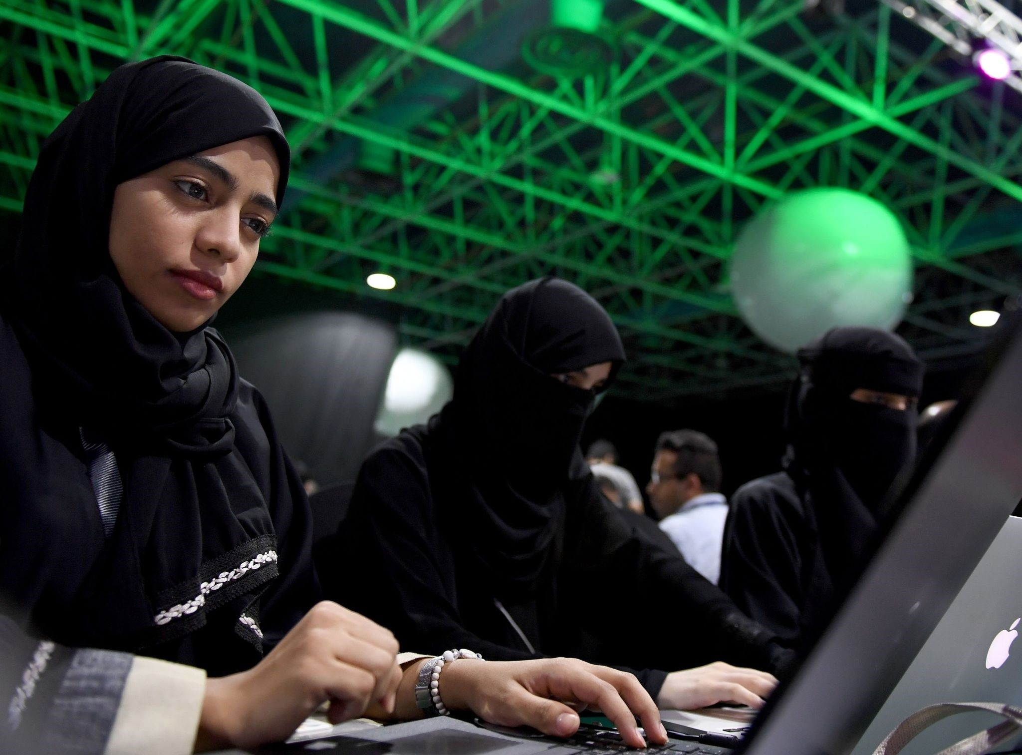 Participants, including Saudi women, attend a hackathon in Jeddah on Aug. 1, prior to the start of the annual Hajj pilgrimage in the holy city of Mecca. Around 3,000 participants attended the three-day u201cHackathon eventu201d in Jeddah, the government said