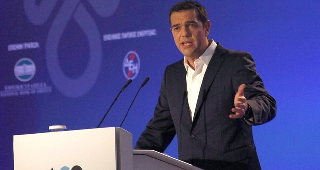Greek Prime Minister Alexis Tsipras delivers a speech during the opening of the 82nd Thessaloniki International Fair.