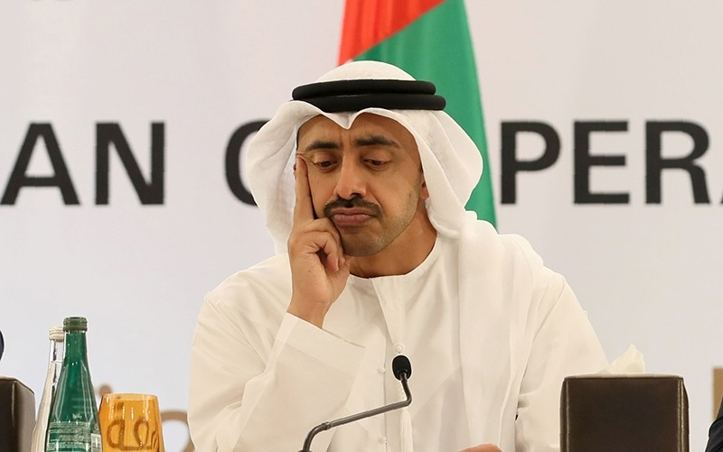 United Arab Emirates' Foreign Minister Sheikh Abdullah bin Zayed al-Nahyan seen during a press conference in Abu Dhabi on February 1, 2017 (AFP Photo)