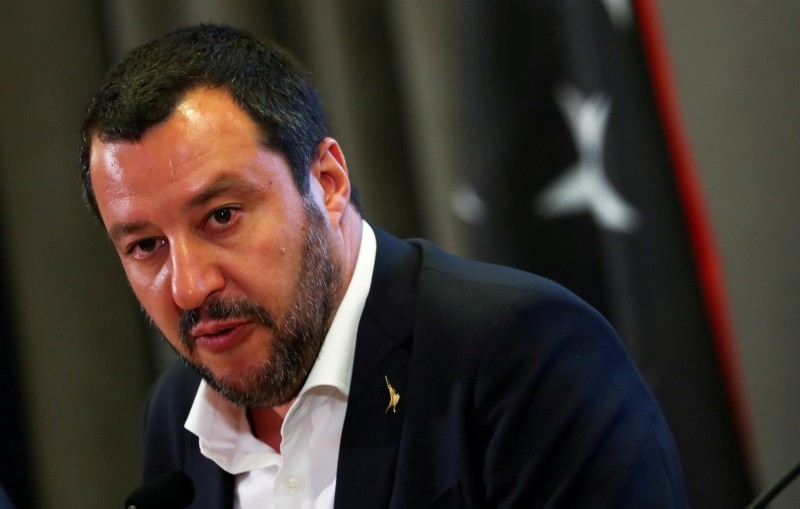 Italian Interior Minister Matteo Salvini talks during a news conference with Libyan Deputy Prime Minister Ahmed Maiteeg in Rome, Italy July 5, 2018. (Reuters Photo)