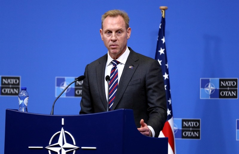 US Defense Secretary Patrick Shanahan gives a press conference following the North Atlantic Council of Defense Ministers, at the NATO headquarters in Brussels, on February 14, 2019. (AA Photo)
