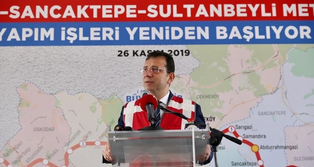 Istanbul Mayor Ekrem İmamoğlu speaking at the ceremony in Istanbul, Nov. 26. 2019. (AA Photo)