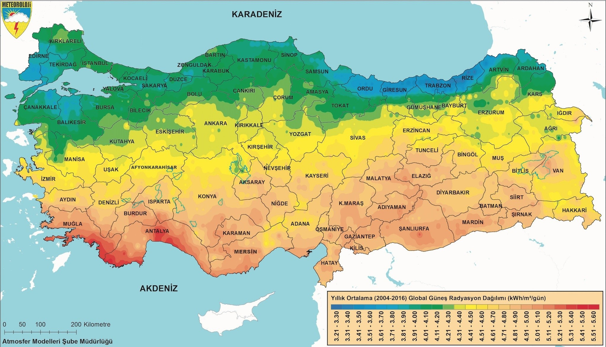The colors on the map indicate the solar power potential across Turkey, with blue painted cities representing the lowest potential and orange-red the highest.