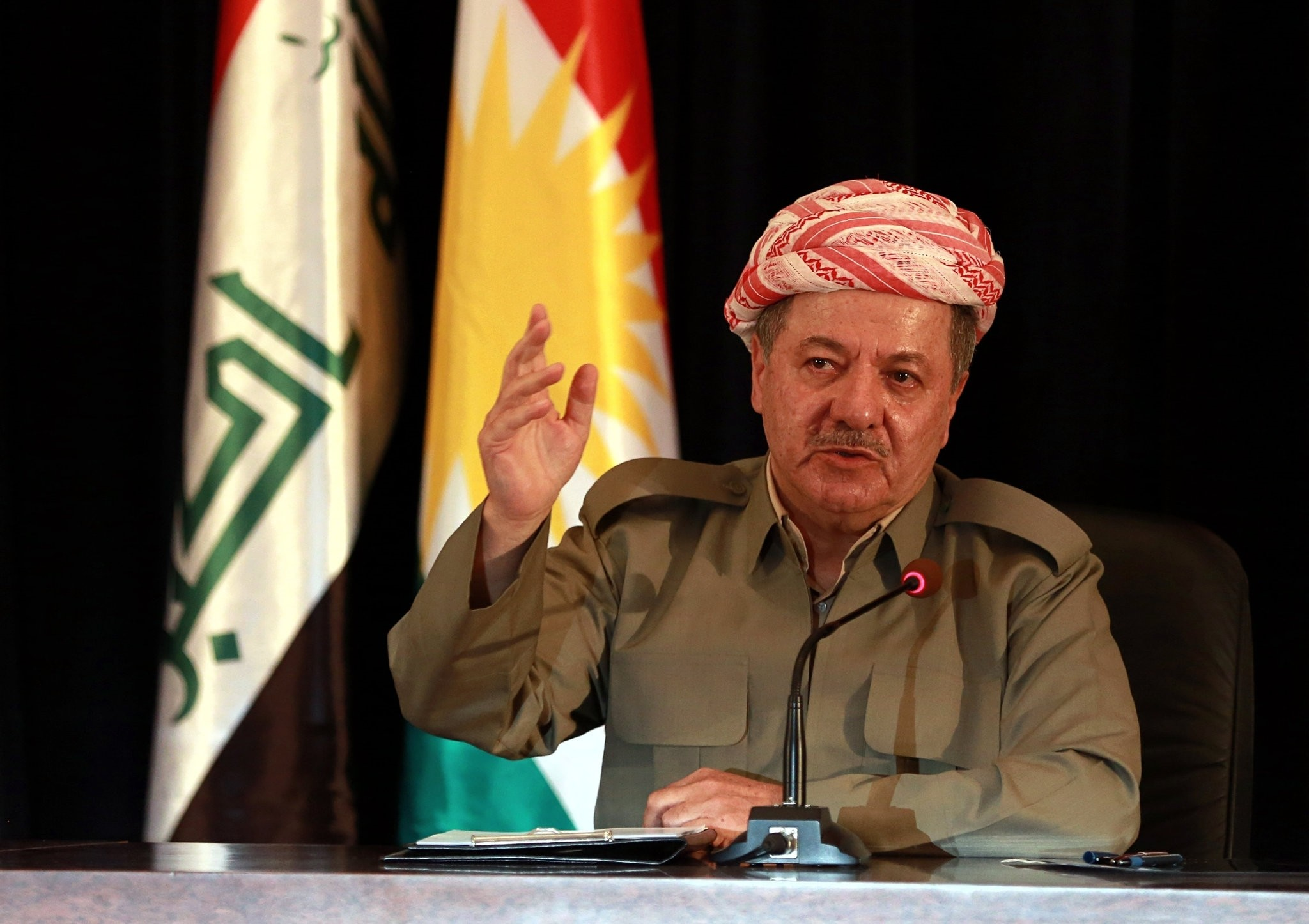 In this Sunday, Sept. 24, 2017 file photo, the leader of Iraq's autonomous Kurdish region, Massoud Barzani, speaks to reporters during a press conference in Irbil, Iraq, Sunday, Sept. 24, 2017. (AP Photo)
