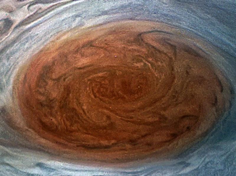 This NASA handout image obtained July 12, 2017 shows the Great Red Spot on Jupiter taken by the Juno Spacecraft on its flyby over the storm on July 11. (AFP Photo)