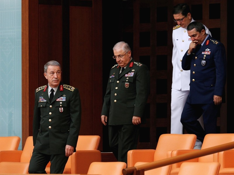 Hulusi Akar (L), former Chief of Staff, Yasar Gu00fcler (C) attend the oath-taking ceremony in parliament. (AA Photo)