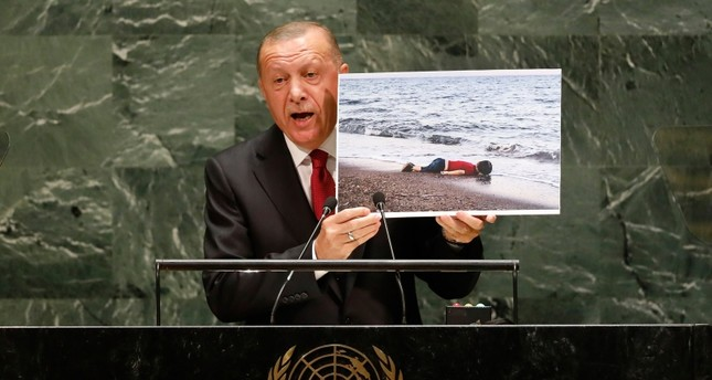 President Recep Tayyip Erdogan addresses the 74th session of the United Nations General Assembly, Tuesday, Sept. 24, 2019. AP Photo