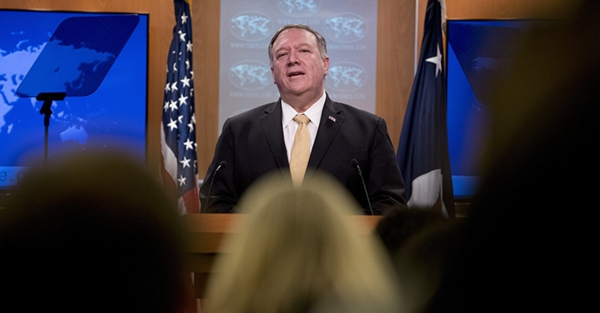 U.S. Secretary of State Mike Pompeo speaks at a news conference at the State Department in Washington, Monday, Nov. 18, 2019. (AP Photo)
