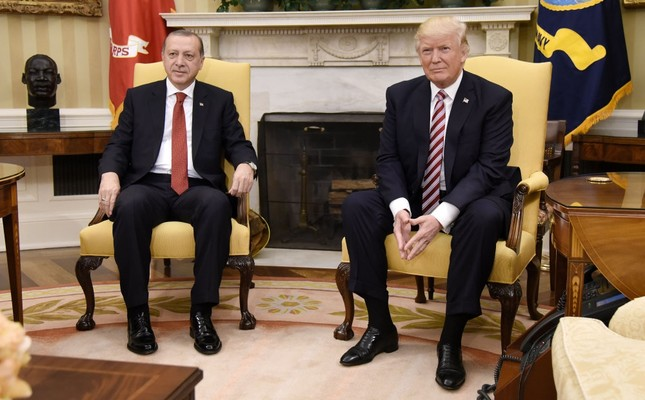 President Erdoğan with U.S. President Trump in the Oval Office of the White House, Washington, May 16.