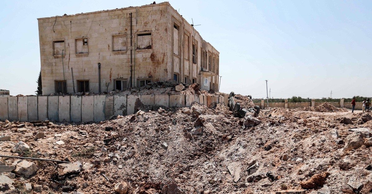A health facility was hit by a reported regime airstrike after midnight in the town of Urum al-Kubra in the western countryside of Syriau2019s Aleppo province, despite a unilaterally announced cease-fire, Aug. 31, 2019.