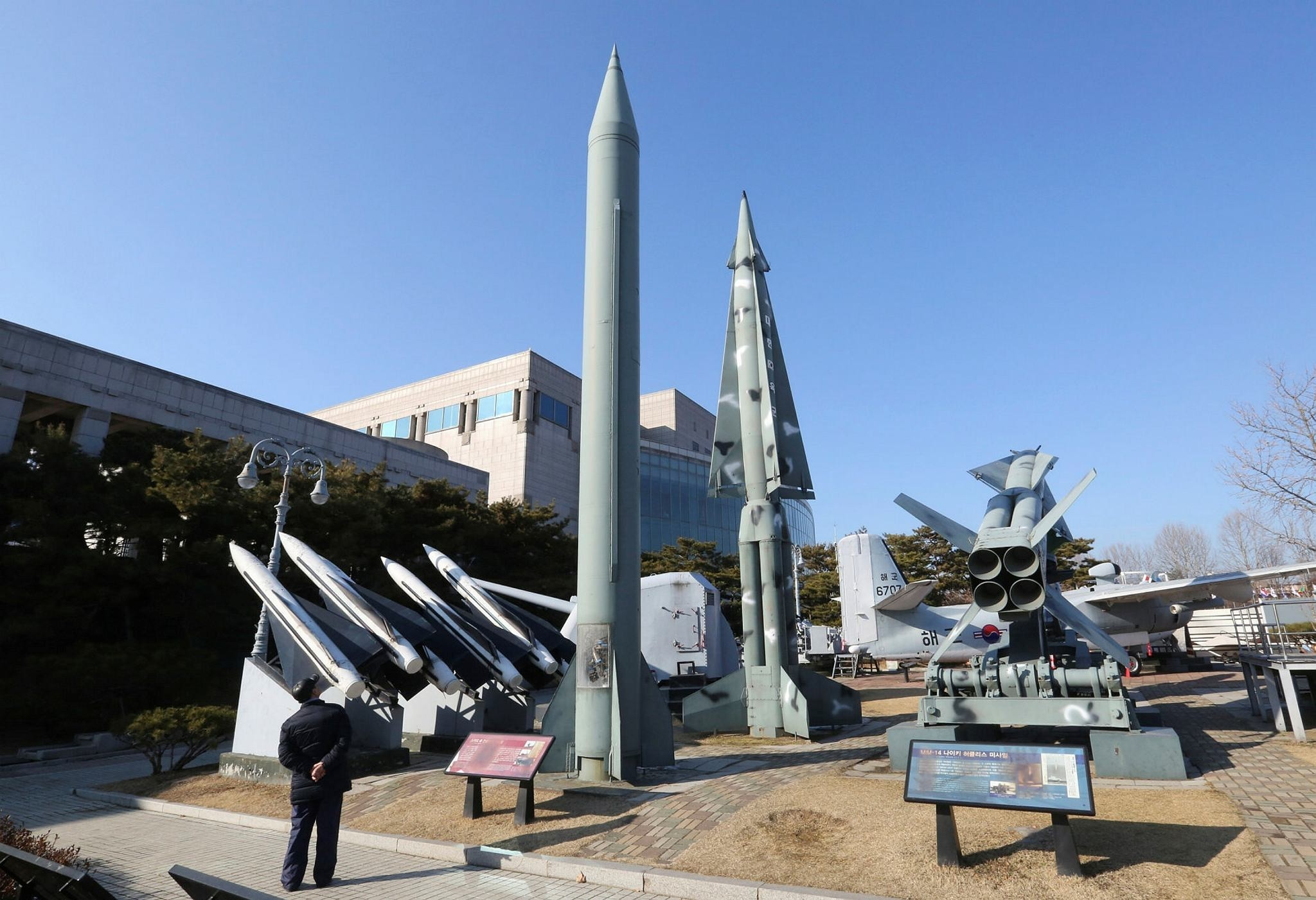 A mock North Korea's Scud-B missile, center left, and South Korean missiles are displayed at Korea War Memorial Museum in Seoul, South Korea, Thursday, Feb. 2, 2017. (AP Photo)