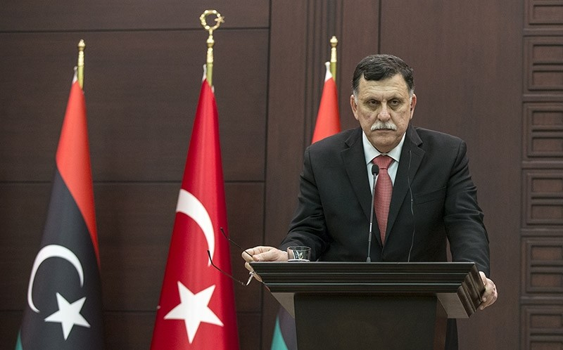 In this file photo from February 8, 2017, Fayez al-Sarraj is pictured attending a joint press conference with PM Binali Yu0131ldu0131ru0131m in Ankara (AA Photo)