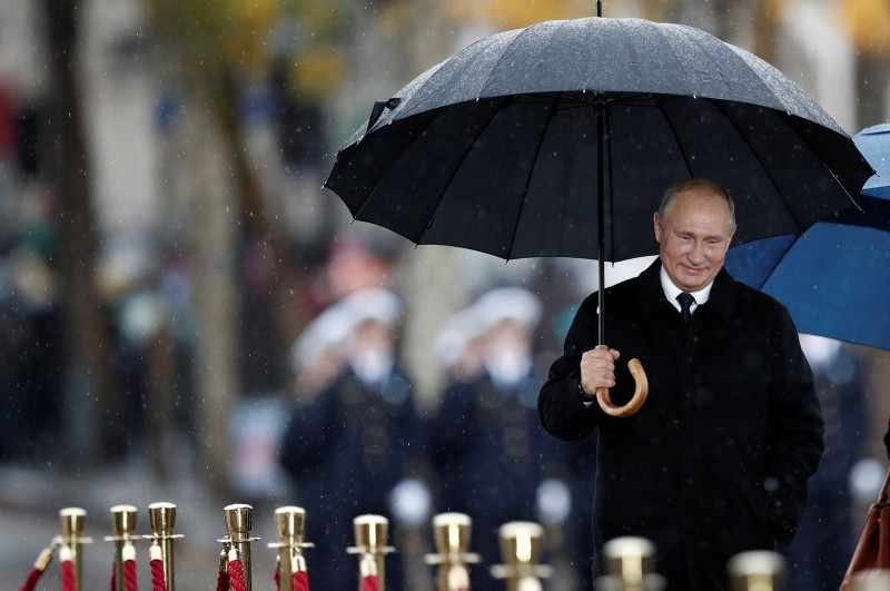 Russian President Vladimir Putin arrives to attend the international ceremony for the Centenary of the WWI Armistice of Nov. 11, 1918 at the Arc de Triomphe, in Paris, France, Nov. 11, 2018. (EPA Photo)