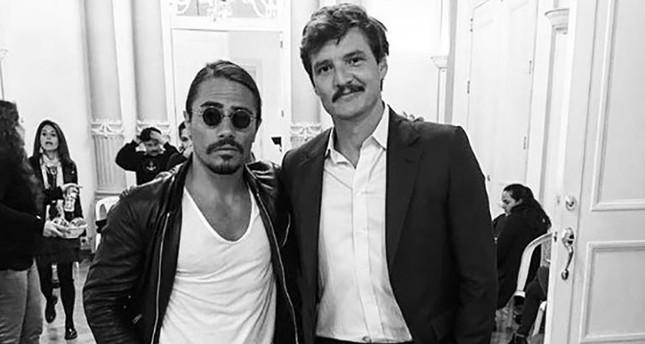 Nusret Gökçe poses with Narcos actor Pedro Pascal in Bogotá, Colombia. (Photo courtesy: @nusr_et)