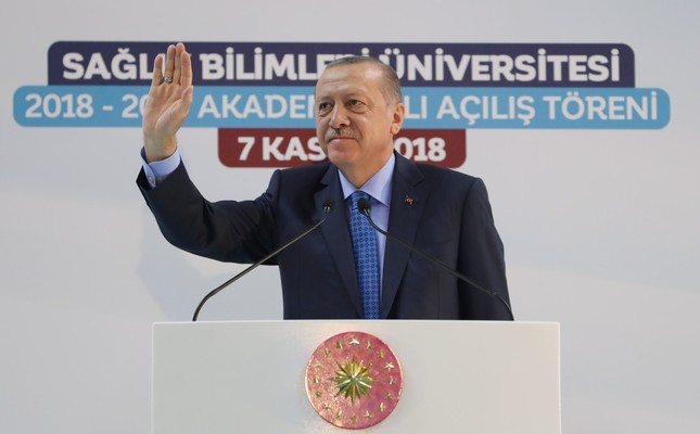 President Recep Tayyip Erdoğan speaks at the academic year opening ceremony of the University of Health Sciences in Ankara yesterday.