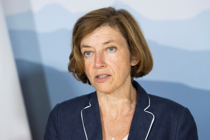French Minister of the Armed Forces, Florence Parly, speaks during a working visit to Swiss Federal Councilor Guy Parmelin, (not pictured) at the Lohn near Bern, Switzerland, 03 September 2018. (EPA Photo)