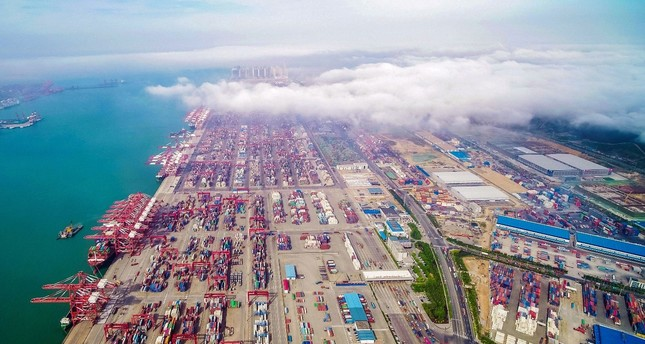 An aerial view of a port in Qingdao in China's eastern Shandong province, May 14, 2019.