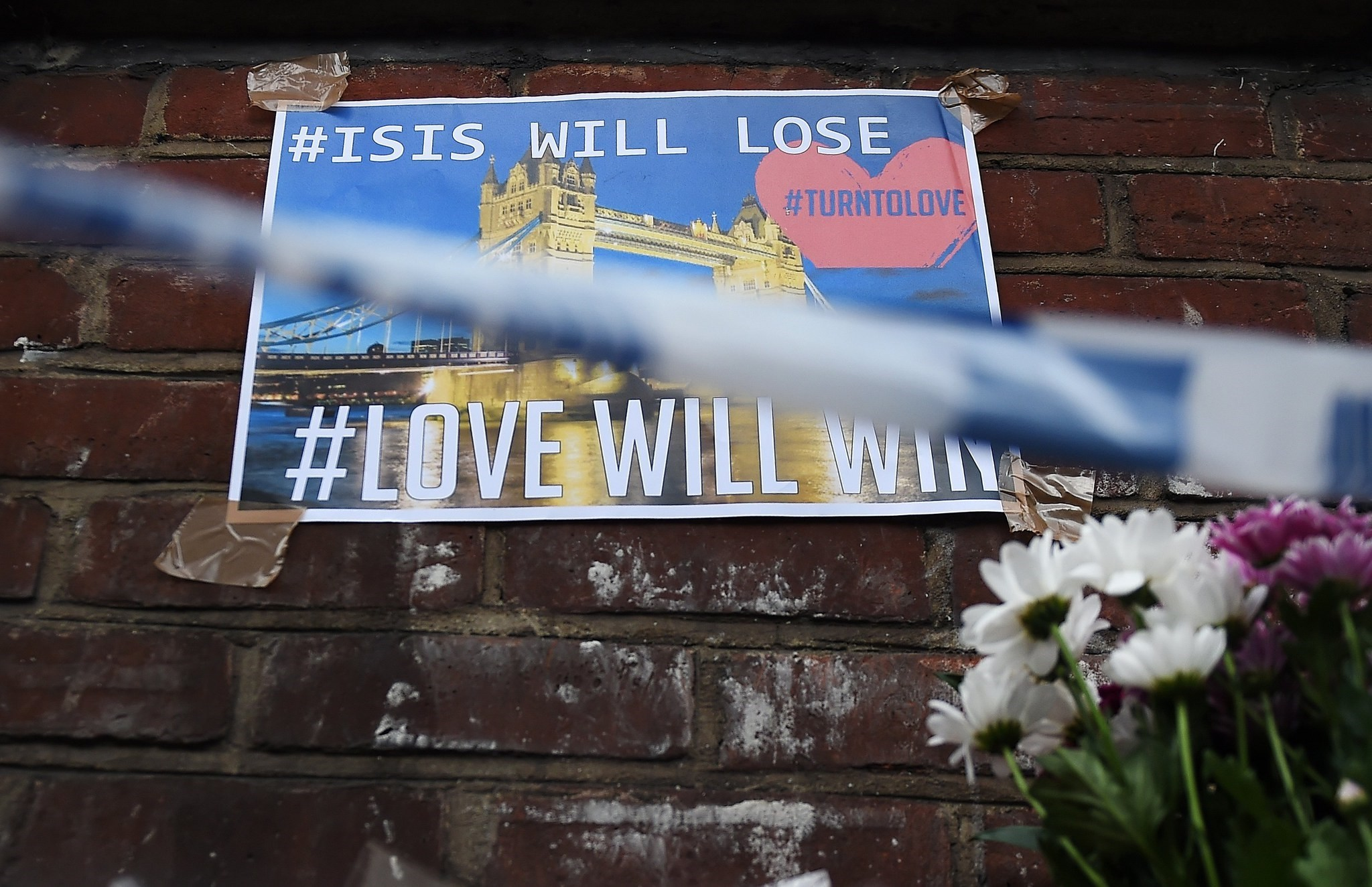 An anti-Daesh poster seen near Borough Market, in the aftermath of multiple June 3 attacks, London, Britain.